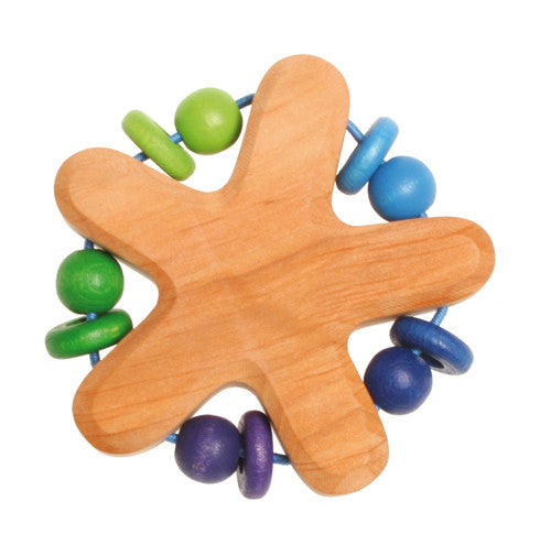 Grimm's Rattle Star with 5 Beads - Yellow Birch