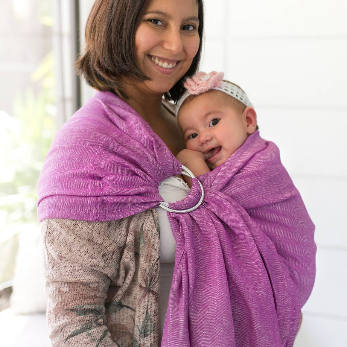 The Sling Baby Carrier | berry + shiny silver