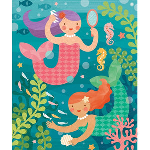 Petit Collage Playful Mermaid 64 Piece Tin Cannister - Yellow Birch