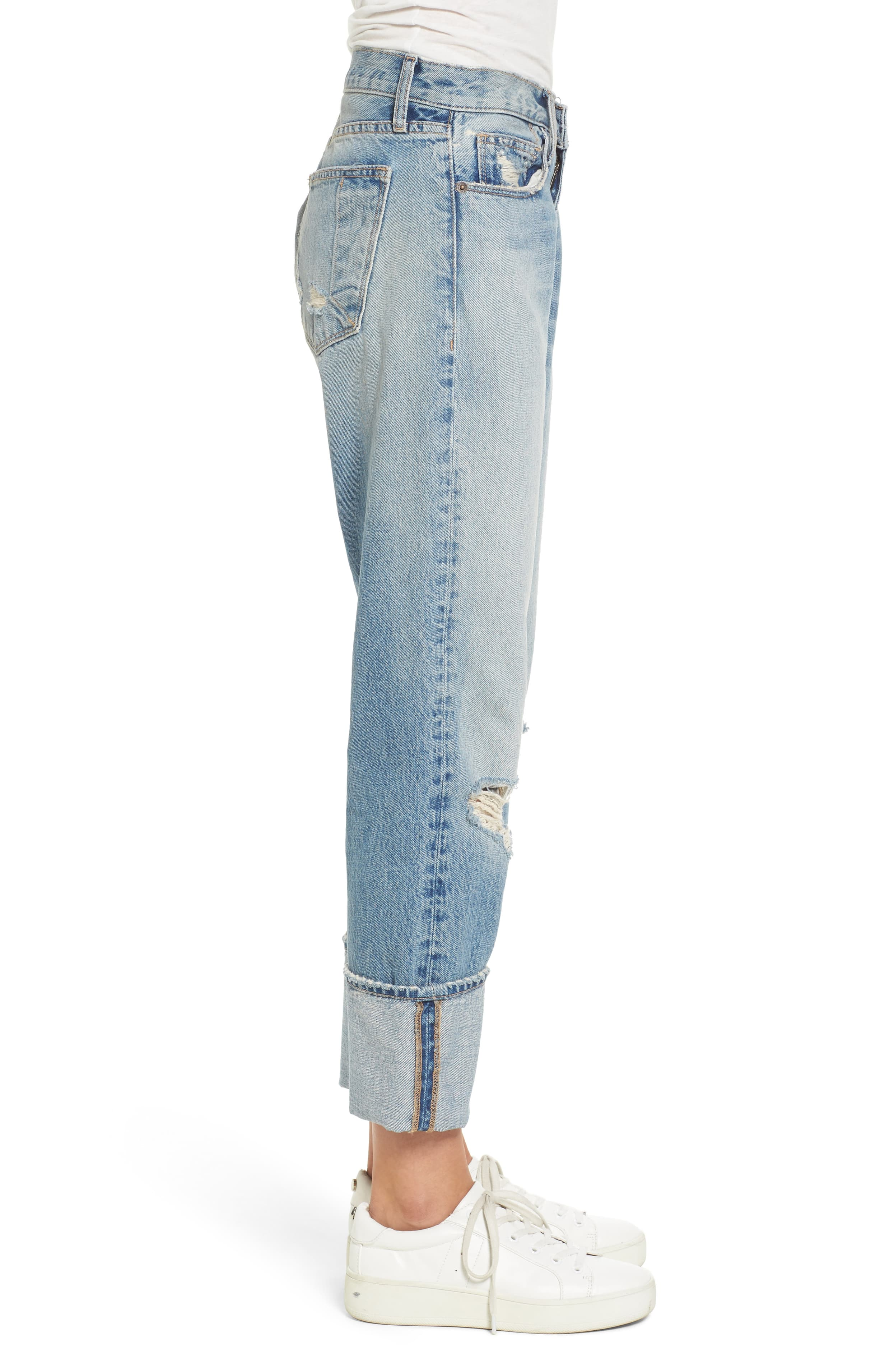 Current/Elliott Women's The His Relaxed Boyfriend Ripped Jeans 23