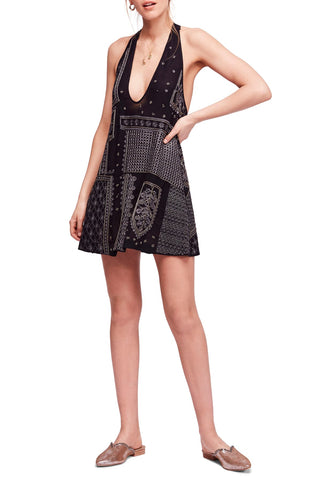 Free People Women's Velvet Floral-Print Short Sleeve Dress Black 4