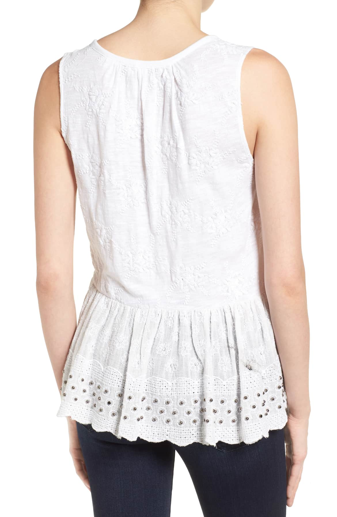 Lucky Brand Cotton Lace-Up Peplum Top Bright White XL