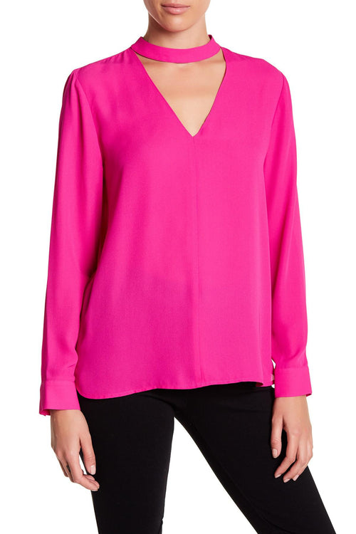 1.STATE Long-Sleeve Choker Top Fuschia Pop XS