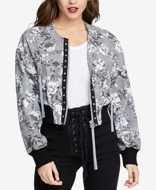 RACHEL Rachel Roy Women's Cropped Bomber Jacket Grey Combo XL