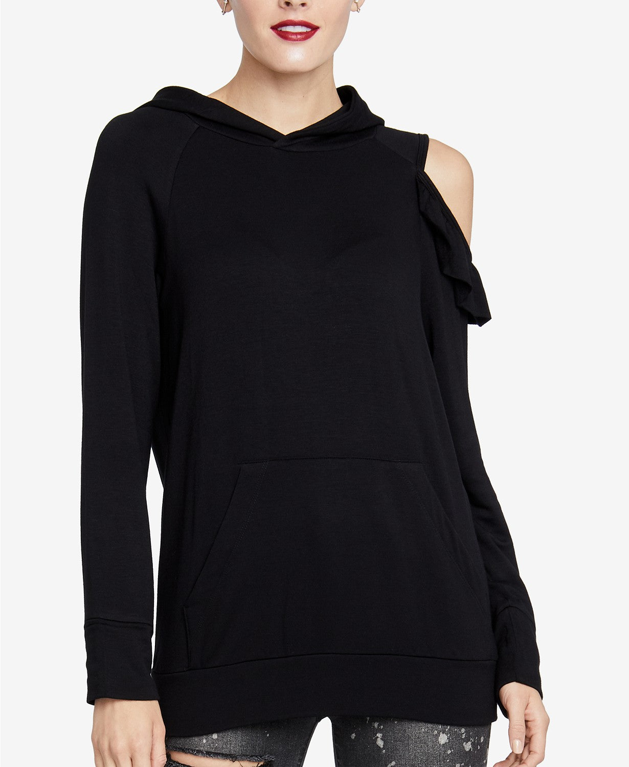 RACHEL Rachel Roy Women's Cold-Shoulder Hoodie Black M