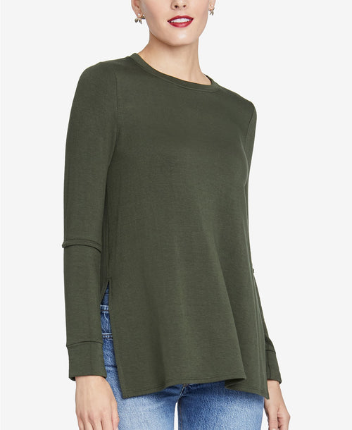 RACHEL Rachel Roy Women's Split-Sleeve Top Army Green L