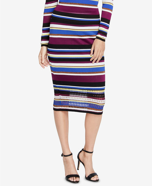 RACHEL Rachel Roy Royal Striped Sweater Skirt Victorian Violet Stripe
