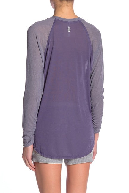Free People Ruched-Sleeve Pocket T-Shirt Purple M - Gear Relapse