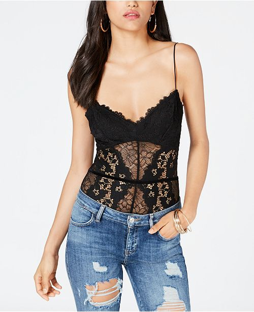 GUESS Women's Treon Lace Bodysuit Jet Black L