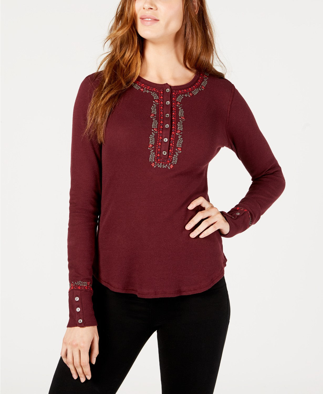 Lucky Brand Women's Cotton Embroidered Long Sleeve Henley Top Burgundy S