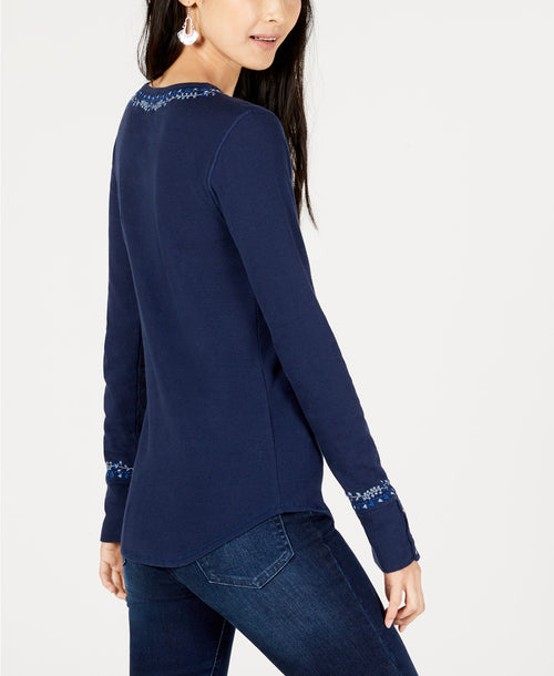 Lucky Brand Women's Cotton Embroidered Long Sleeve Henley Top