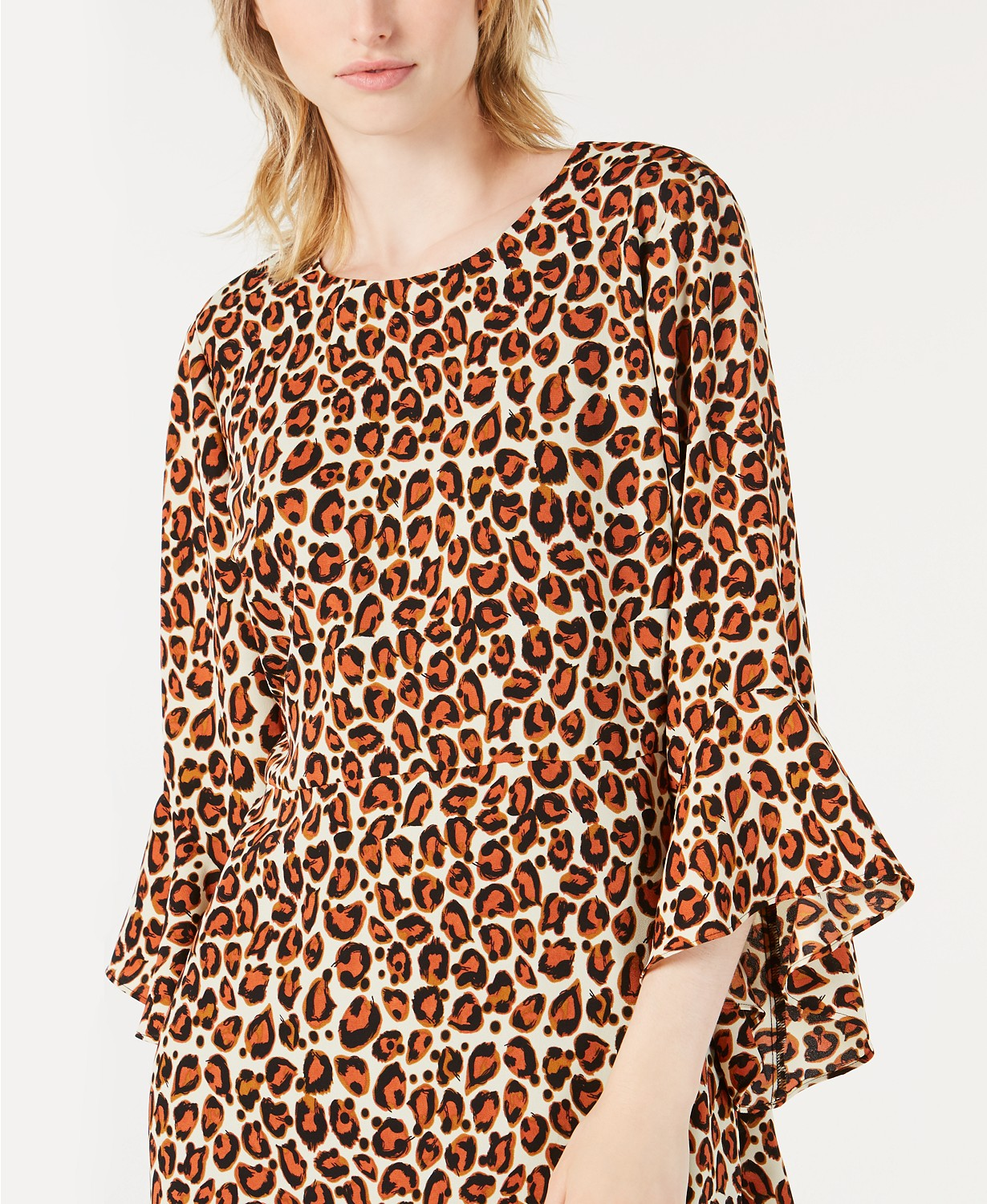 Bar III Bell-Sleeve Cheetah-Print Dress Cheetah 10 - Gear Relapse