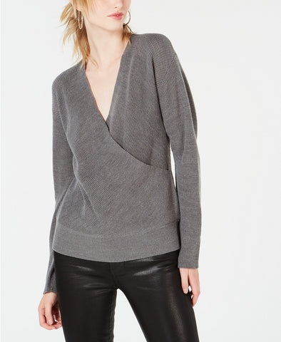 Lucky Brand Women's Raglan Lace-Up Long Sleeve Sweater Grey