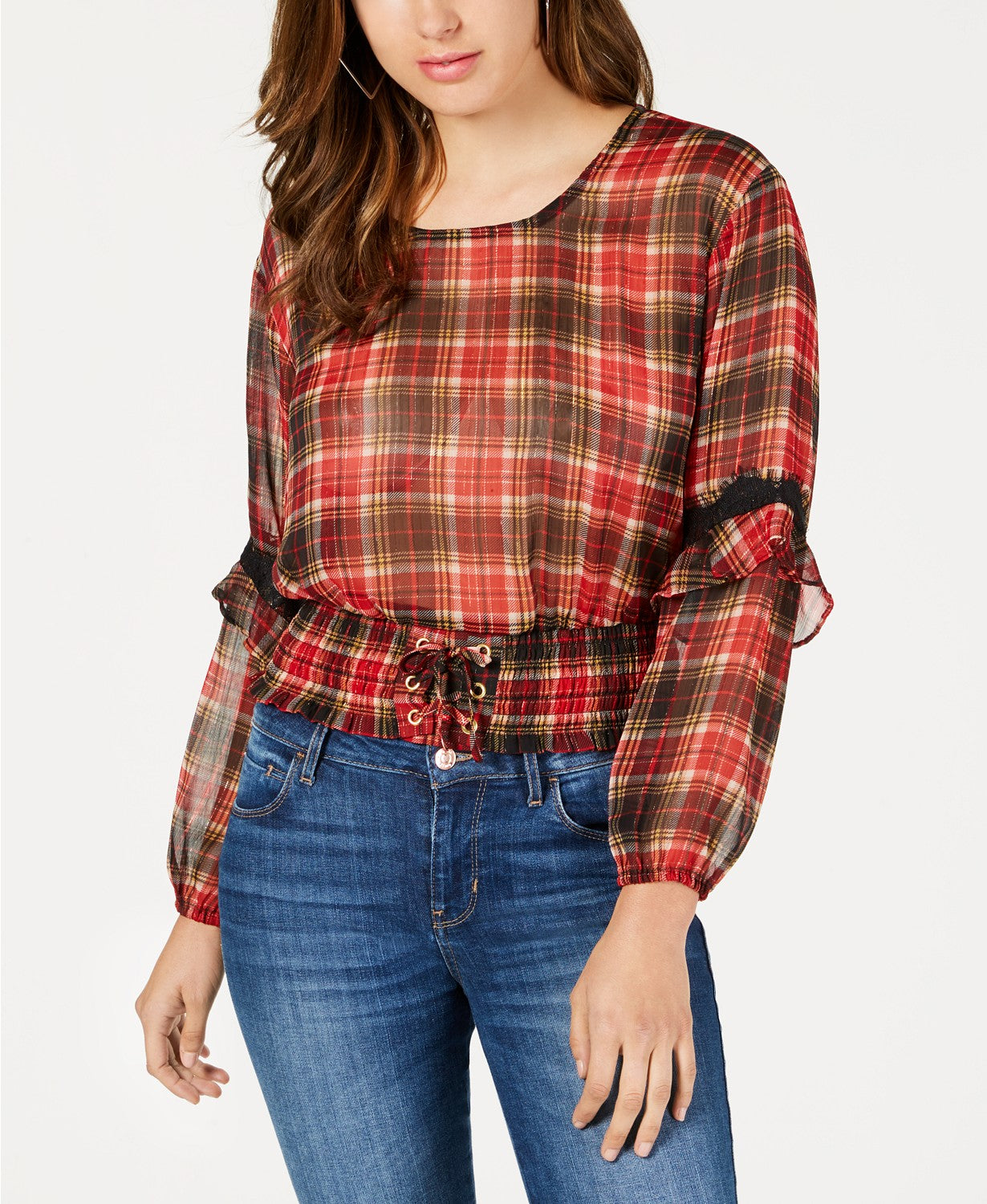 GUESS Women's Sheer Smocked Top Madison Plaid Sultry Red Multi S