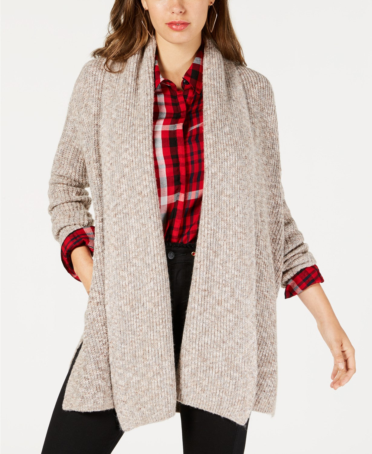 GUESS Women's Draped Open-Front Cardigan Sweater Rose Smoke Heather Multi M