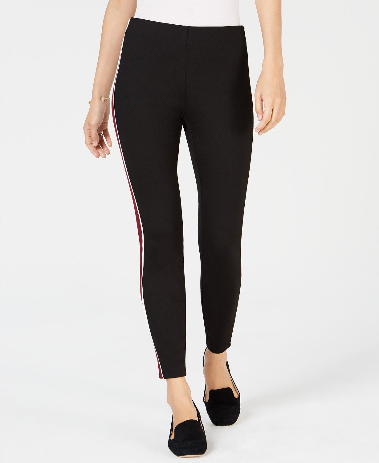 Maison Jules Pull-On Striped Skinny Pants Deep Black