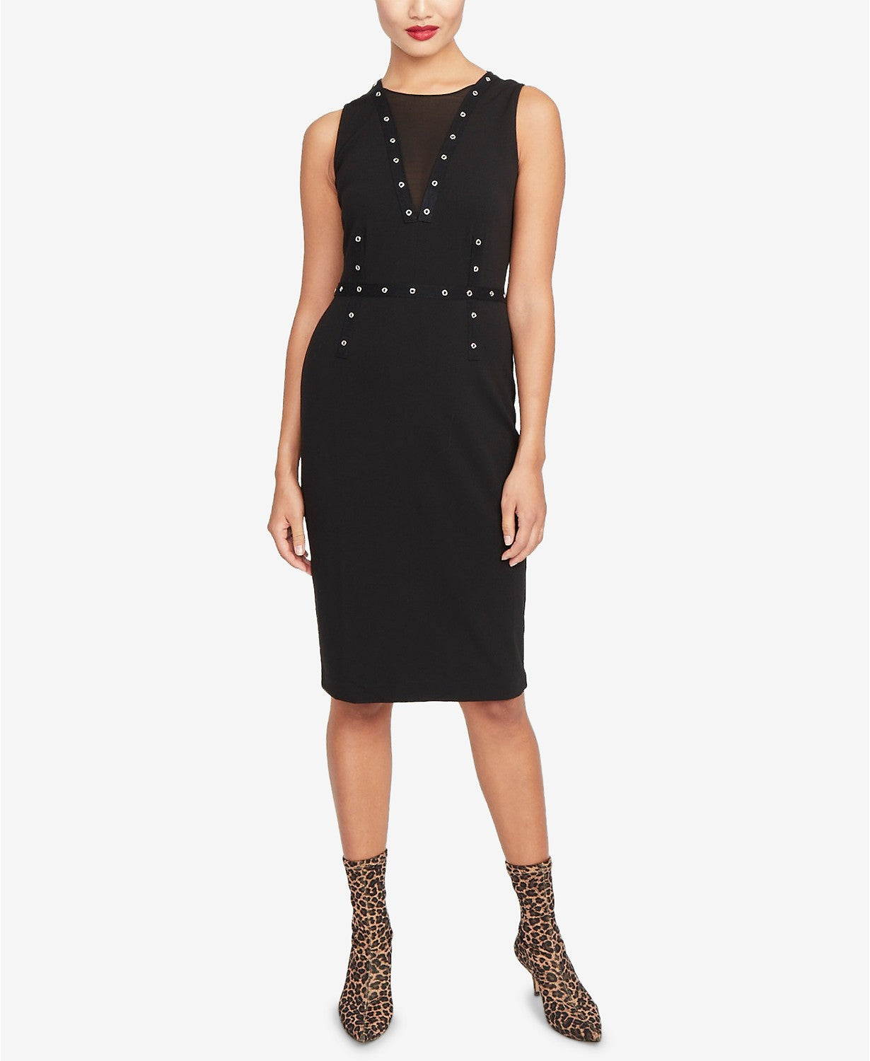 RACHEL Rachel Roy Women's Zane Mesh Grommet Dress Black S