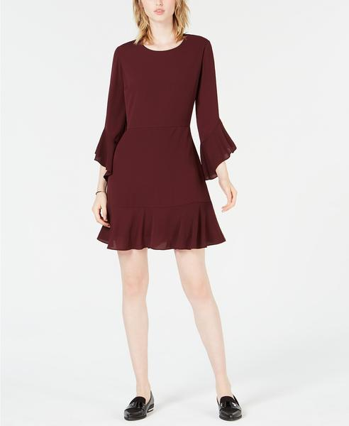 Bar III Ruffle-Hem Fit Flare Dress