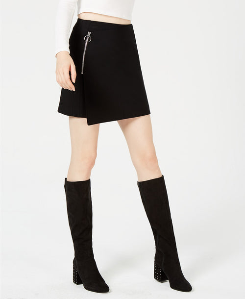 Bar III Asymmetrical Mini Skirt Deep Black - Gear Relapse