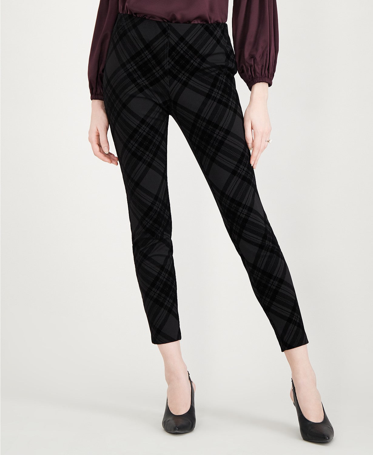 Maison Jules Flocked Plaid Pants Flocked Plaid Black