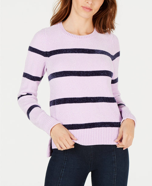 Maison Jules Women's Striped Crew Neck Long Sleeve Chenille Sweater