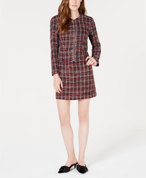 Maison Jules Collarless Tweed Zip-Up Tweed Jacket Red Black L