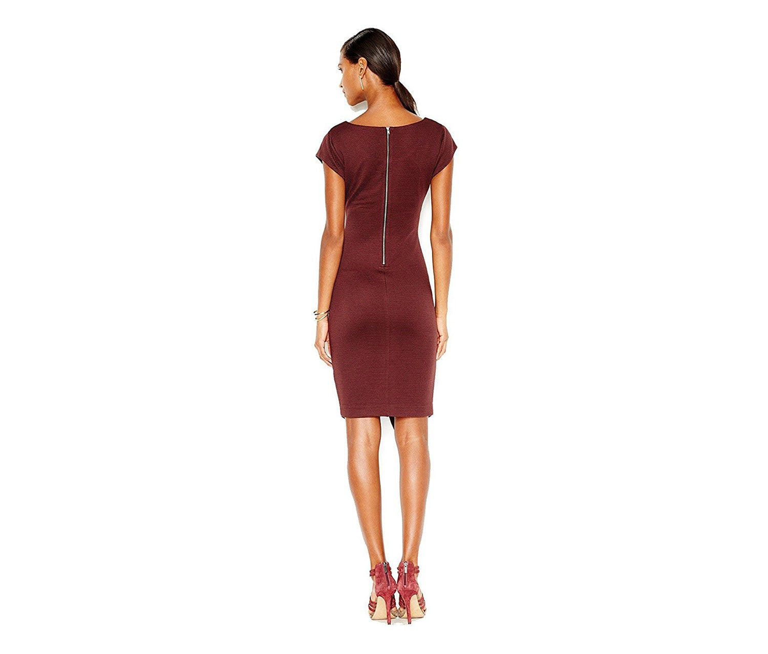 Bar III Ribbed Envelope Dress Dark Prune - Gear Relapse