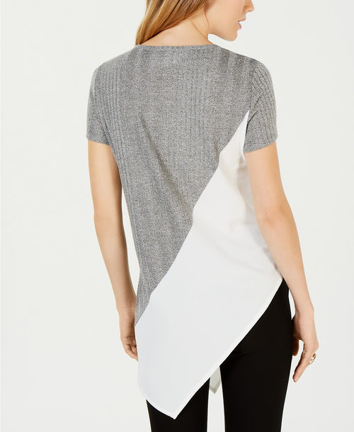 Bar III Asymmetrical Colorblocked Top Medium Heather Grey M