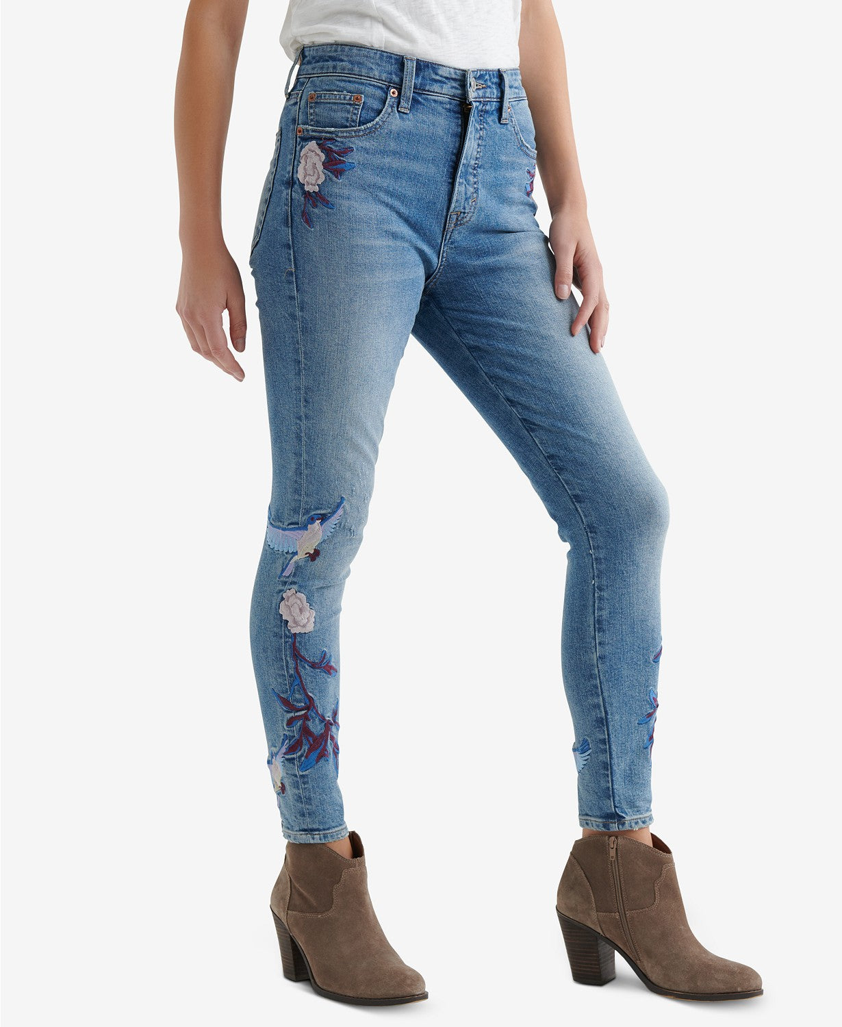 Lucky Brand Bridgette Embroidered Skinny Jeans Mae Ridge-Cut 32