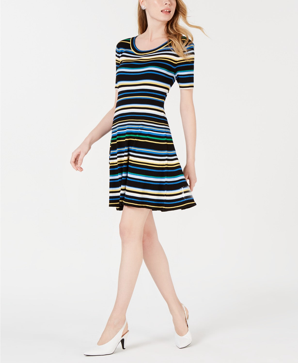 Maison Jules Striped Fit Flare Sweater Dress Black Combo