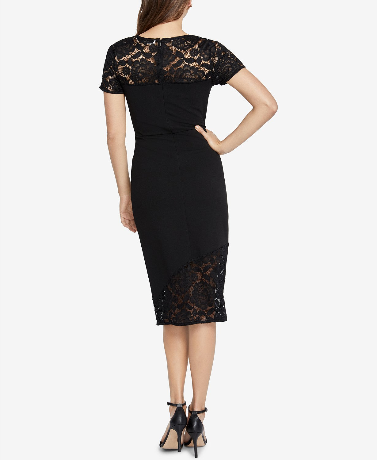 RACHEL Rachel Roy Women's Jamie Lace-Trim Dress Black XXL