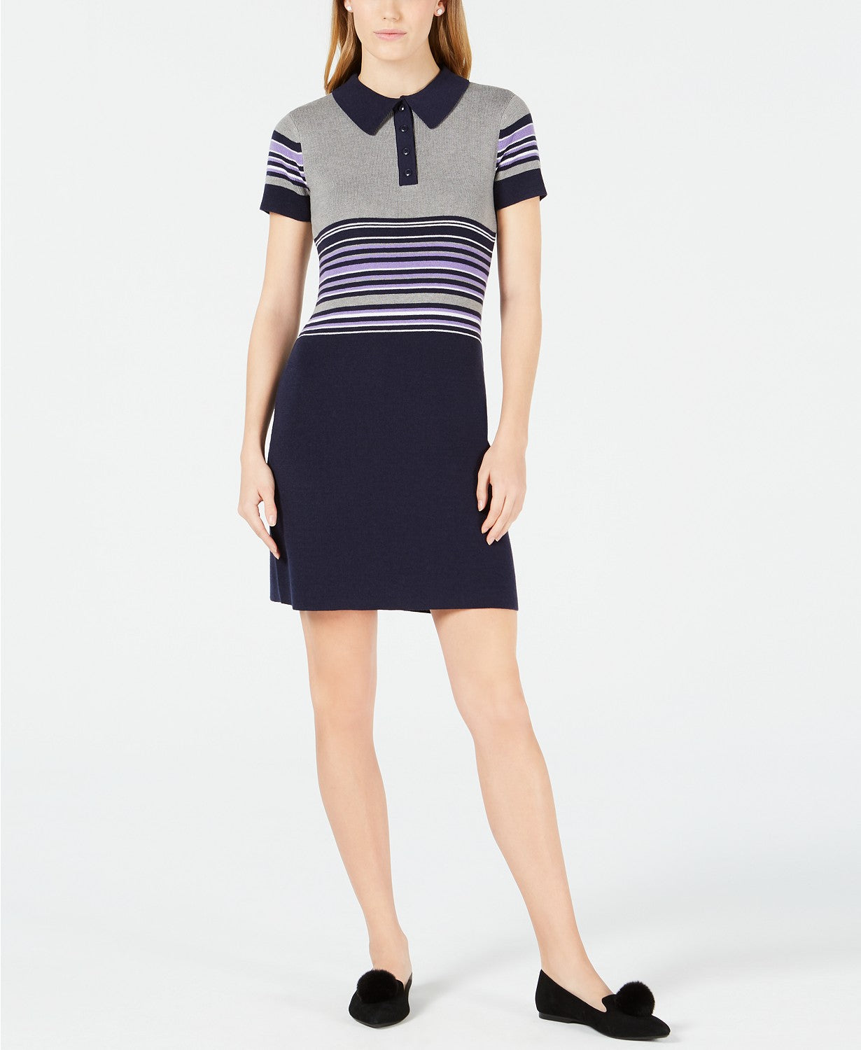 Maison Jules Striped Polo Sweater Dress
