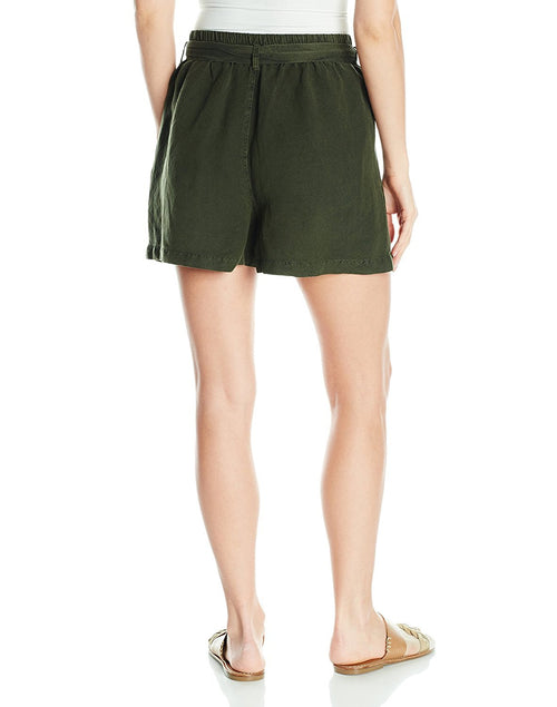 Lucky Brand Women's Tie Front Linen Shorts Deep Depths M