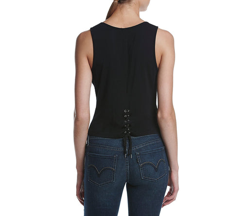 Kensie Laced-Back Crop Top Black