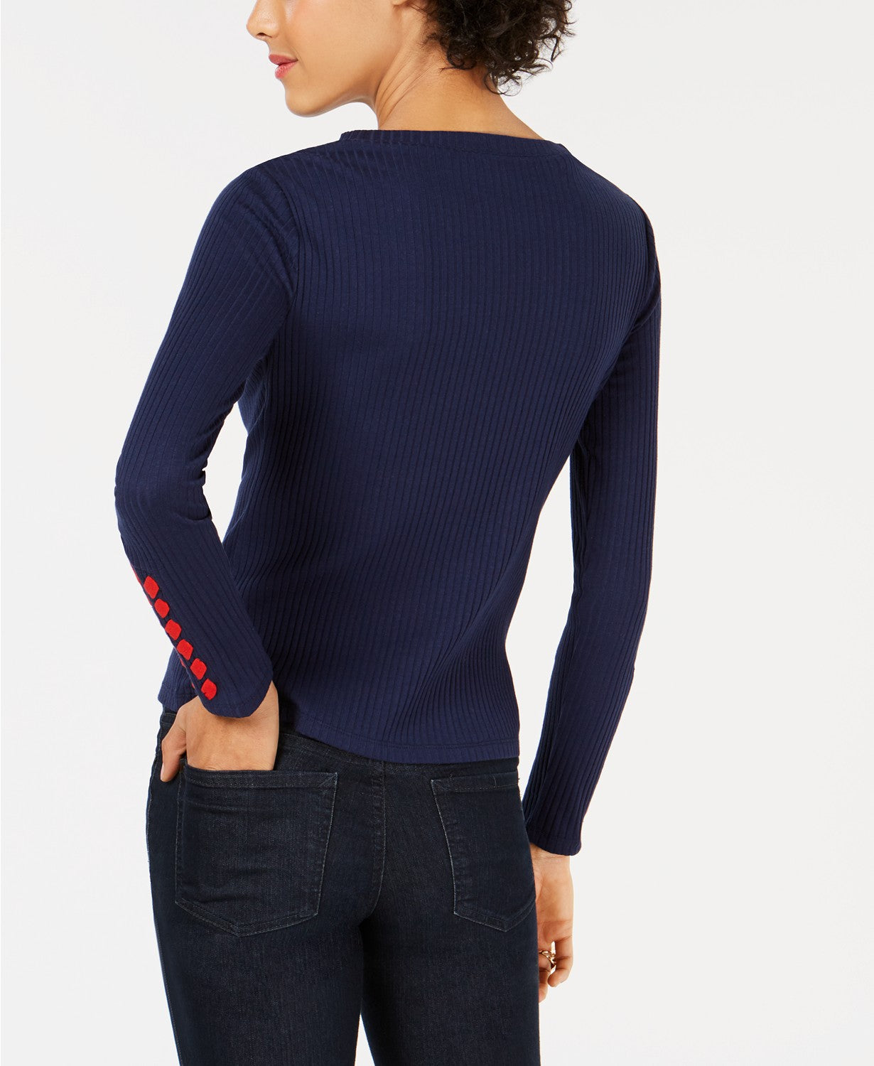 Maison Jules Ribbed Laced-Sleeve Top Blu Notte