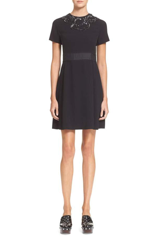 MARC BY MARC JACOBS Women's Short Sleeve Crepe Dress Embellishment Black 6