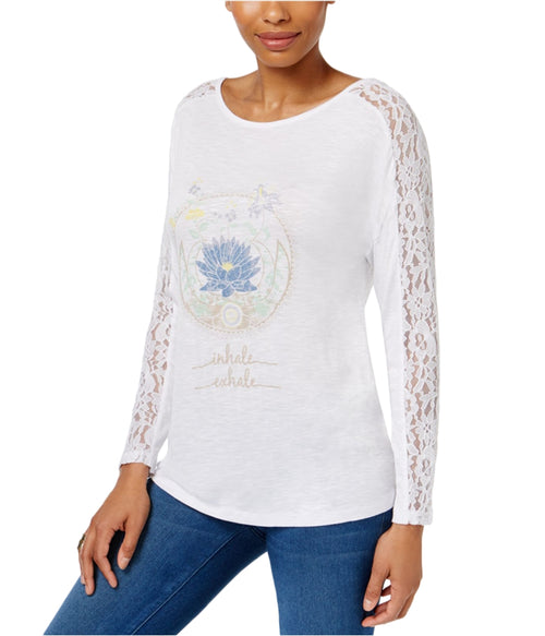 JAMIE LAYLA Graphic-Print Lace-Sleeve Top White M