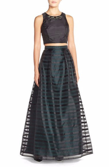 Xscape Embellished Burnout Crop Top Dress Black 6