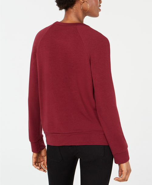 Carbon Copy Metallic Wine-Graphic Sweatshirt Burgundy L