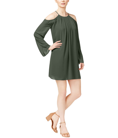 Bar III Cold-Shoulder Chiffon Dress Dusty Olive - Gear Relapse