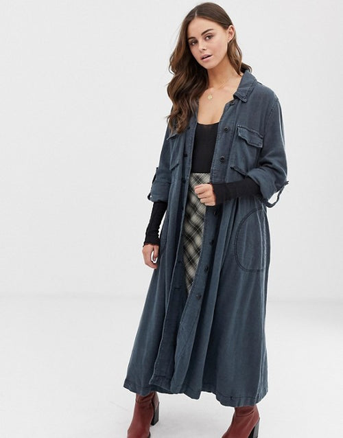 Free People Rain Duster Jacket Atlantic Blue M - Gear Relapse