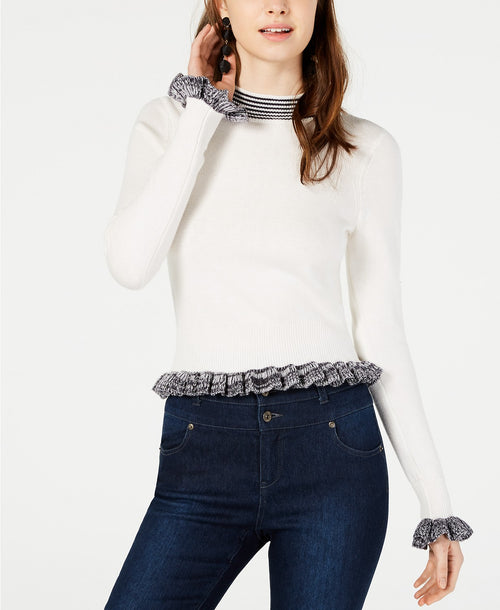 French Connection Alexa Ruffle-Trim Knit Sweater White XS