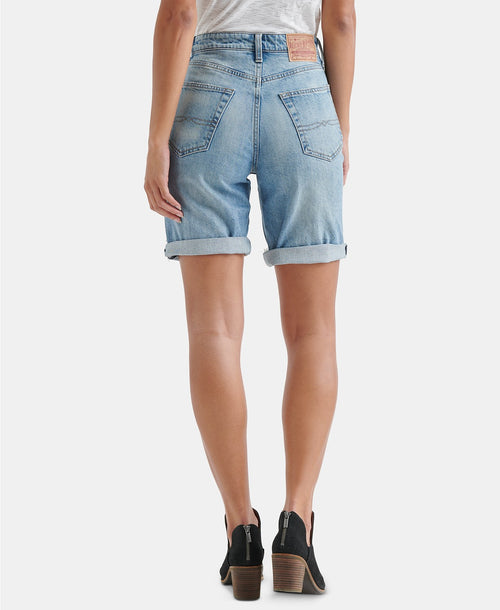 Lucky Brand Women's Ripped Denim Bermuda Shorts Blue 28