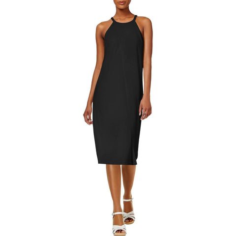 Bar III V-Neck Shift Dress Deep Black M