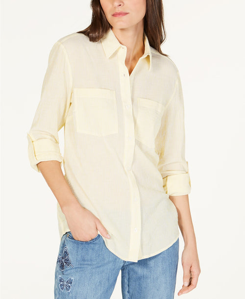Michael Michael Kors Striped Button-Up Top Sunshine XL