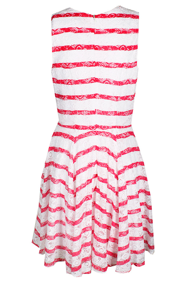 Maison Jules Striped Lace Fit & Flare Dress Berry Sorbet Combo L