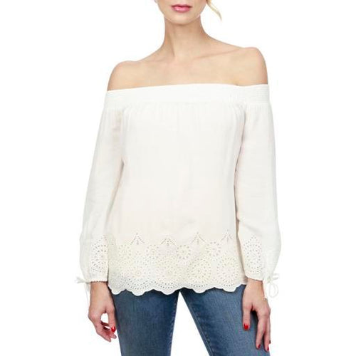 Lucky Brand Crochet-Detail Off-The-Shoulder Top Marshmallow S