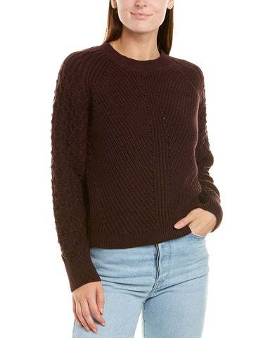 Lucky Brand Raglan Lace-Up Sweater Grey