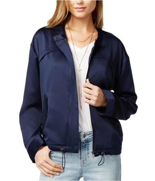 GUESS Women's Full-Zip Long Sleeve Jacket Blue M