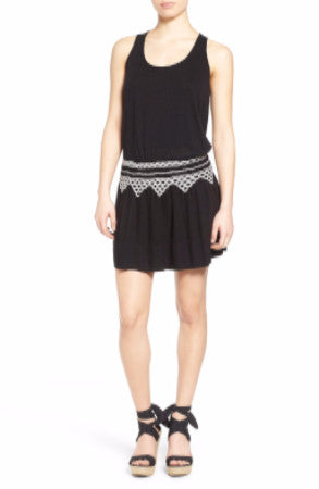 Lucky Brand Sleeveless Embroidered-Waist D Lucky, Black, M